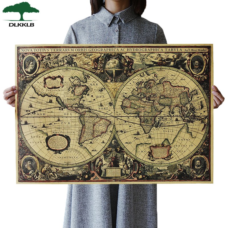 DLKKLB Retro World Map Nautical Ocean Map Poster Vintage Kraft Paper Wall Chart Sticker Antique Home Decor Large Size Map World