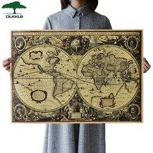Mapa del mundo Retro DLKKLB, póster de mapa del Océano náutico, Papel kraft clásico, pegatina de gráfico de pared, decoración del hogar antigua, mapa del mundo de tamaño grande