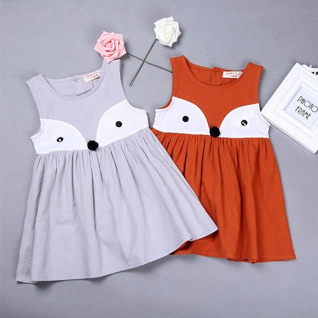 Девушки платье с лисой Летнее красивое платье с принтом «Лиса» одежда с  мультипликационным принтом 26a16711e22