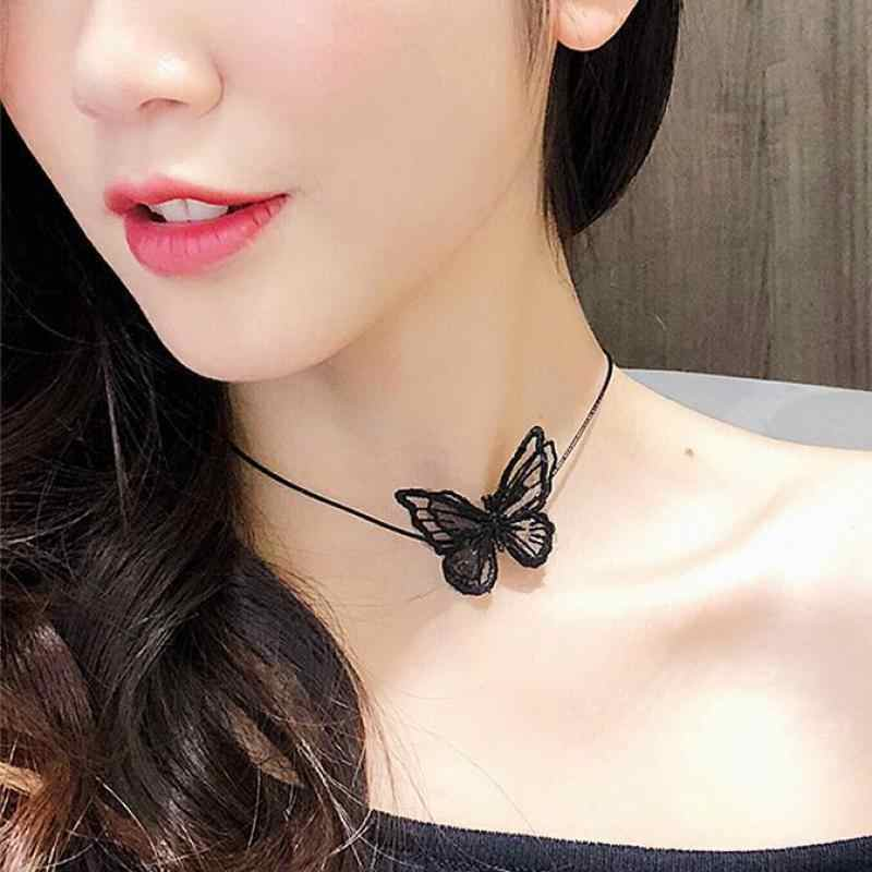 2019 New Korean Three-dimensional Openwork Lace Butterfly Collar Sweater Chain Insect Leather Rope Clavicle Chain Necklace