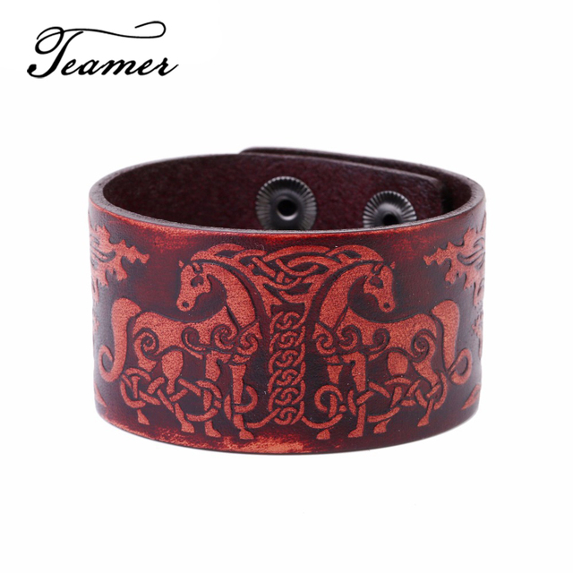 97c62f004222 € 3.62 10% de DESCUENTO Teamer Hot Unisex Nordic talismán patrones pulsera  brazalete de cuero hecho a mano pulseras con doble caballo ciervo ...