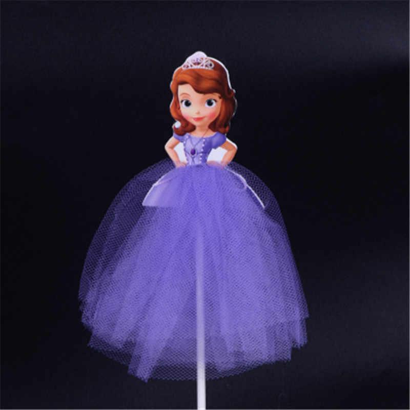 Детская одежда для девочек с изображением пирожного на день рожденья для ношения с обувью, платье принцессы для девочки, Русалочка, Белоснежка София Золушка Рапунцель верхушка для торта флажки для торта