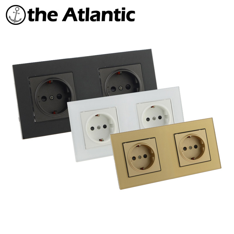 Atlantic EU/DE/RU Double Socket Crystal Glass Switch Wall Plug Socket Tempered Crystal Glass Panel 110-250V Wall Power Socket atlantic switch tempered glass phone tv socket model luxury crystal glass panel weak current socket telephone television outlet