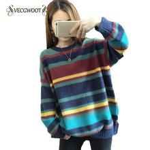 2019 Autumn winter New Loose Spell color Stripe Sweater Women Students Wild Korean Round neck Knit Pullovers Female S-XL WYT529(China)