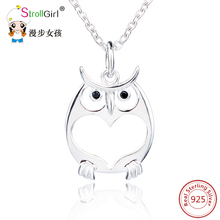Lovely Owl Pattern Animal Pendant Necklace for Women 925 Sterling Silver Jewelry Lovely Animal Pendant Chain Necklace Collier
