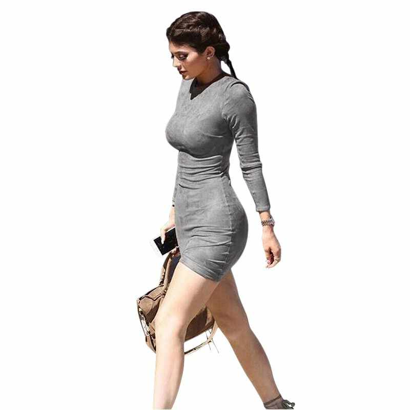 4158291abf4d ... Long Sleeve Slim Party Dress Sexy Club Brown Vestido Women Winter  Dresses Kylie Skin Tight Faux ...