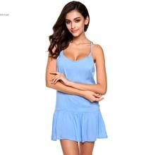 Women Summer Style Mini Casual Dress Round Neck Sleeveless Spaghetti Strap Backless Solid A-Line Short Beach Dress 41