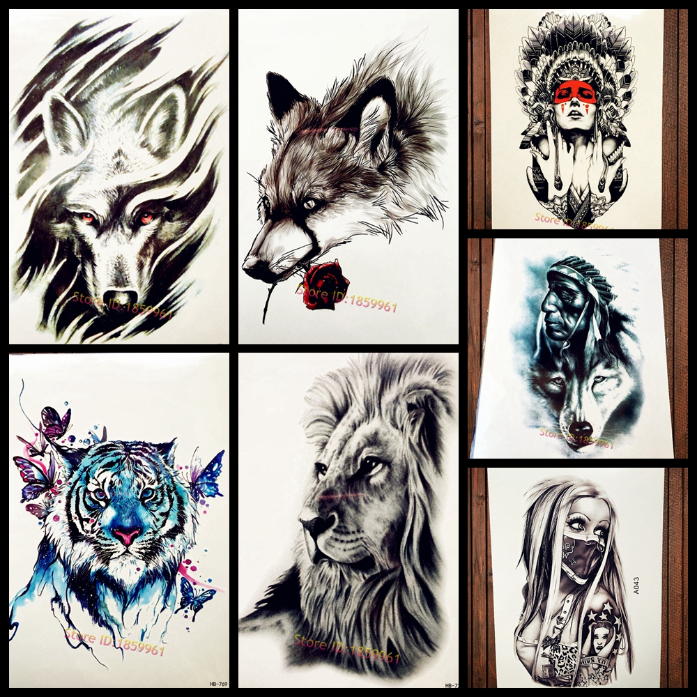 Tribal wind wolf temporary tattoo stickers for women men body art arm black waterproof tattoo - Dibujos tribales para tatuar ...