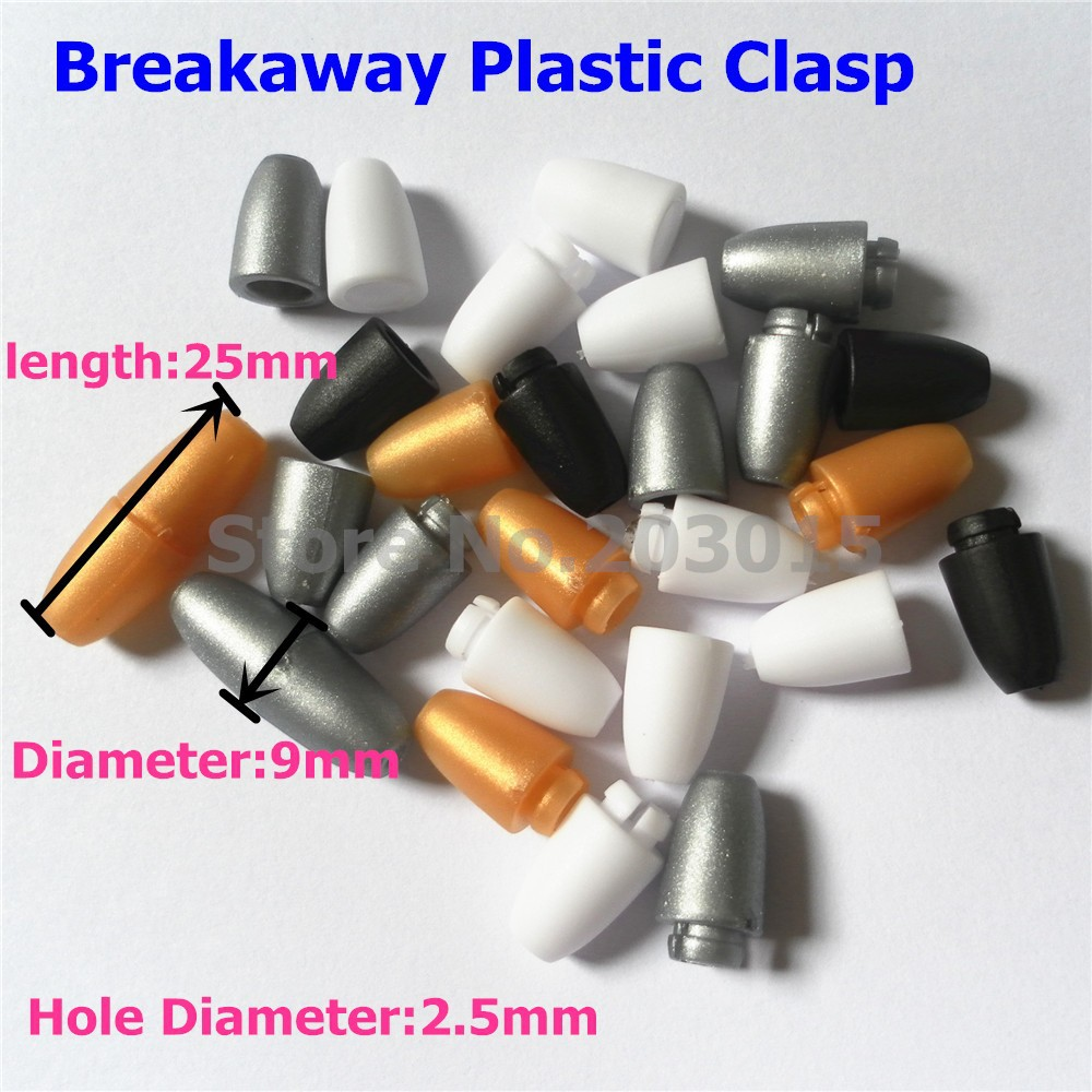 (4 color) 50pcs DIY Necklace's breakaway plastic clasps Plastic Closure for chew necklace Silicone Jewels