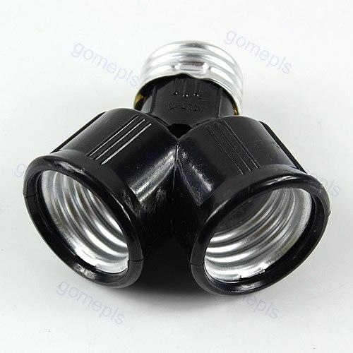Цоколь E27 лампочка с гнездом от 1 до 2 разветвитель адаптер конвертер Гнездо # K4U3X #