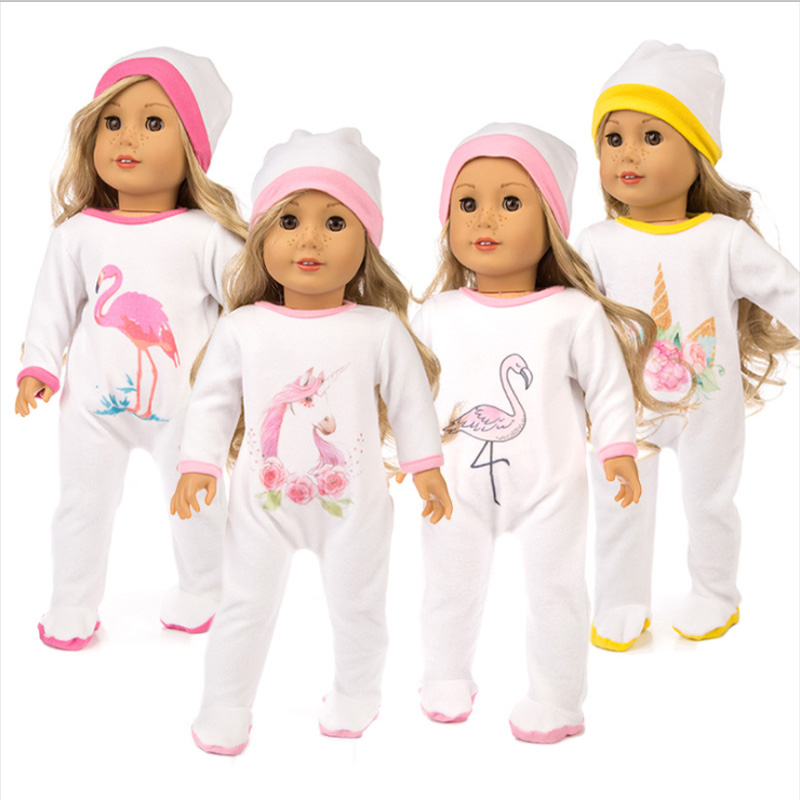 2pcs/set Hat + Jumpsuit Doll Sets Outfit For 43cm Zapf Baby Girl Doll Cute Jumpers Rompers 18 Inch Doll Clothes Set