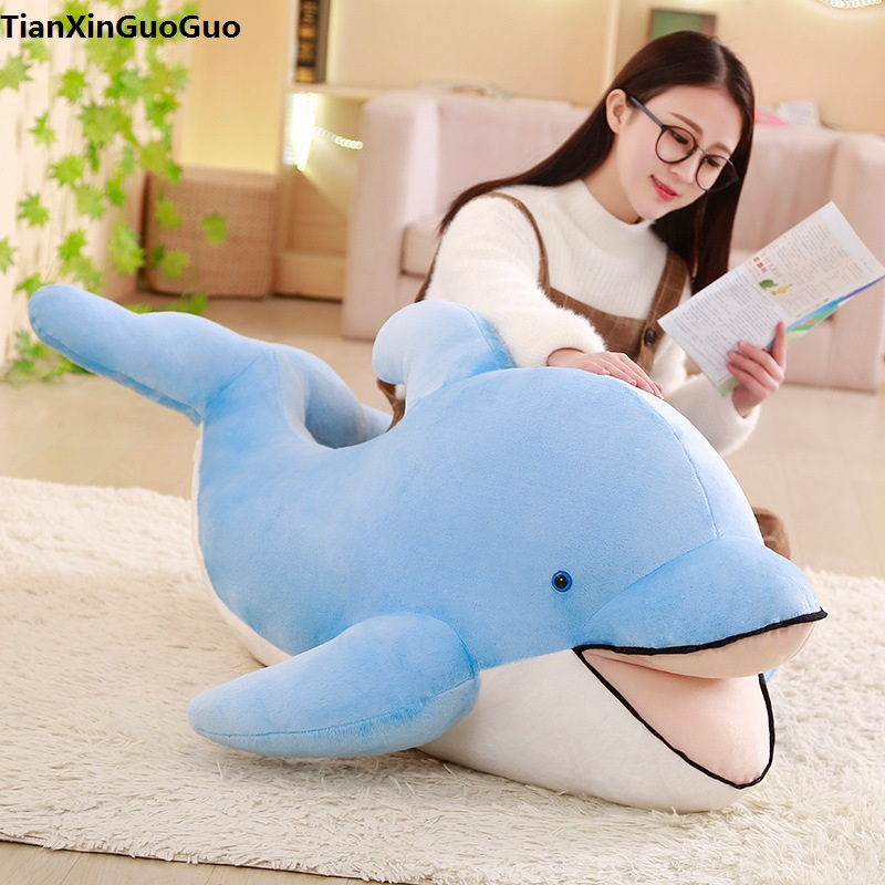 stuffed plush toy huge 120cm lovely blue dolphin opening mouth plush toy soft doll hugging pillow birthday gift s0403