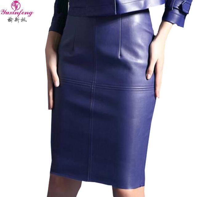 b0b5b1830 Yuxinfeng 2019 Sexy Pu Leather Skirt Women High Waist Bodycon Mini Pencil Faux  Leather Skirts Elegant Fashion Short Skirt Casual