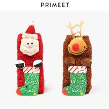 1 pair korean style Women Christmas socks Hairy thick warm cute kawaii Cartoon Elk Cake Coral velvet tube sock luxury gift