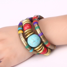 Bohopan Bohemia Vintage Multi-layer Bracelets Blue Natural Stone For Women National Style Bracelet Bangles Gift