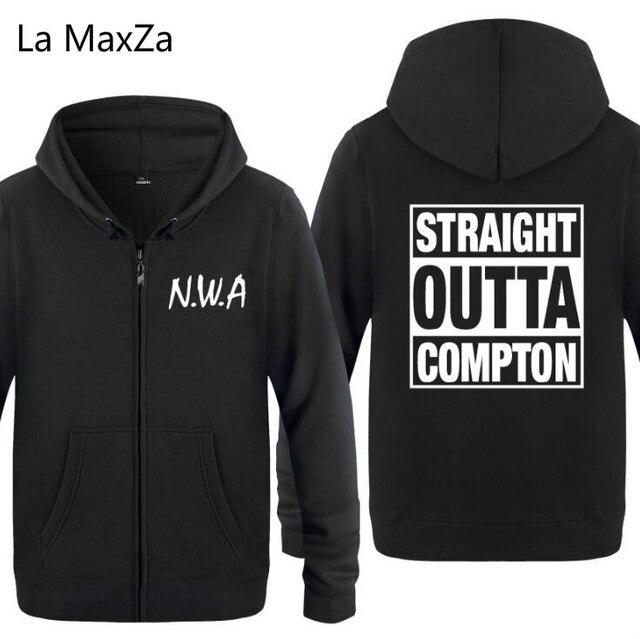 ca718136050e9 Mens Hoodies Rocha NWA Outta Reto Compton Impresso Hoodie Dos Homens Hip  Hop Fleece Jaqueta Com