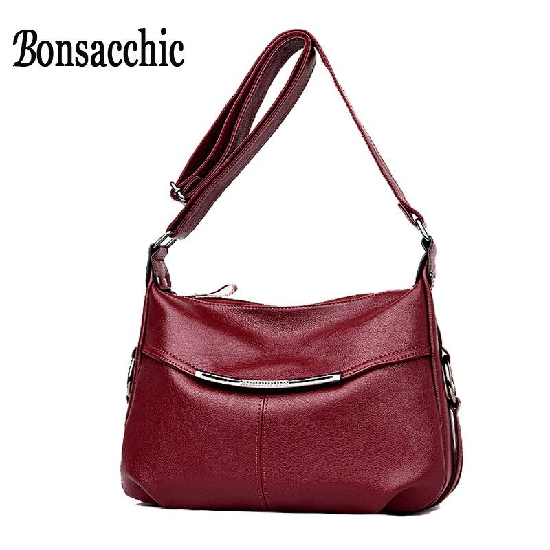 Bonsacchic nyári női táska kis női bőr táska piros luxus designer ... a51725ec87
