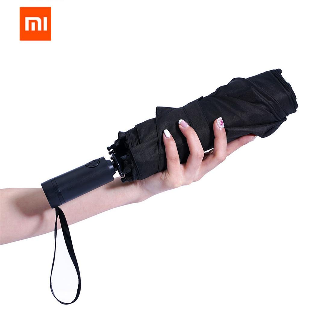 Xiaomi Mi Mijia WD1 автоматический Дождливый Зонтик Солнечный дождливый летний алюминиевый ветрозащитный водонепроницаемый УФ зонтик солнцезащитный козырек для мужчин и женщин - Цвет: Черный