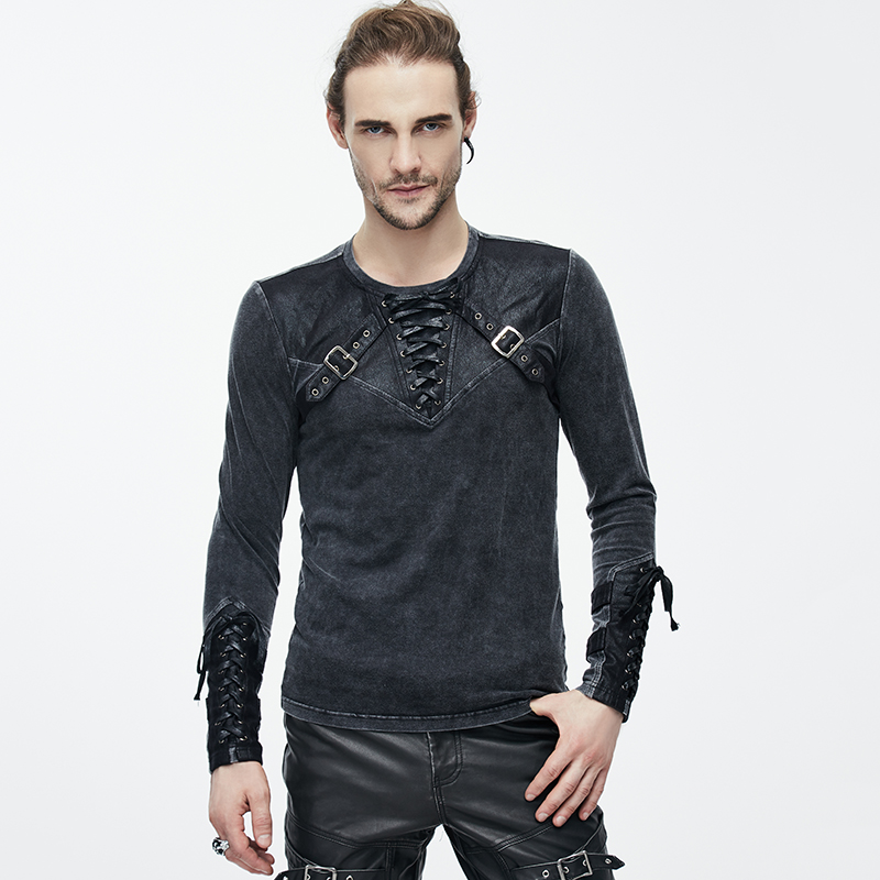 Devil Fashion Heavy Punk Bind   T  -  Shirts   for Man Steampunk Vintage Long Sleeves Tee   Shirt   Tops Autumn Winter Casual Wear
