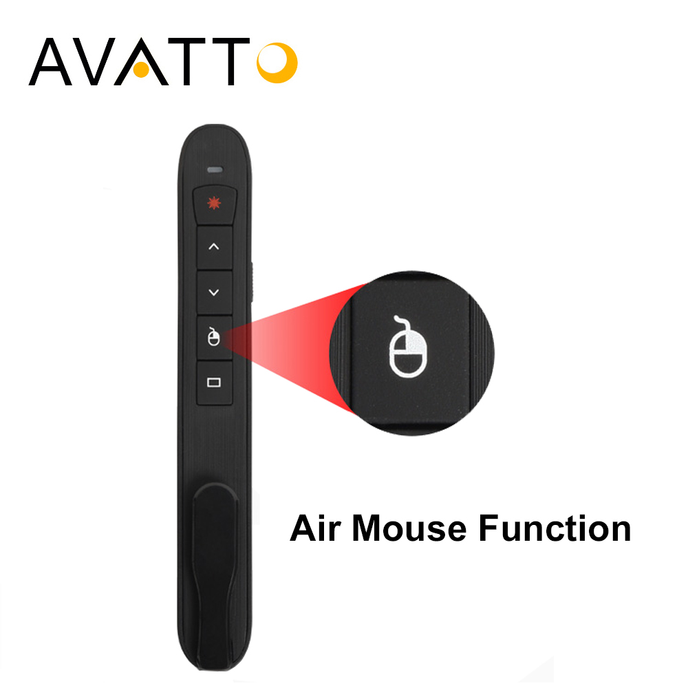 [AVATTO] Rechargable RF 2.4G Wireless Presenter with Air Mouse PowerPoint Remote Control PPT Clicker Presentation Laser Pen