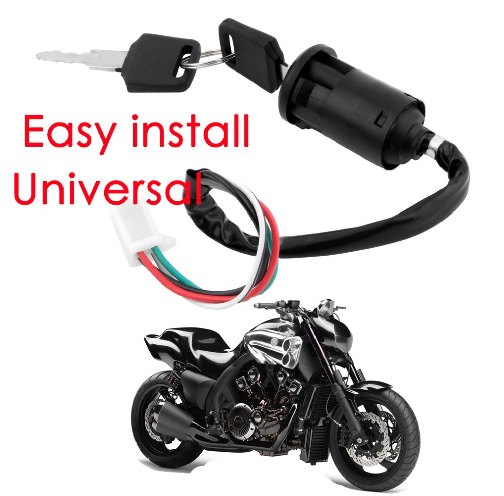 Motorcycle 4 Wire Ignition Lock Key Switch Plug For 50 70 90 110 125 Four Pin Wiring Diagram Baja Scooter Wires Bike Atv Quad Go Kart Motard Motor Moped Buggy Scooters