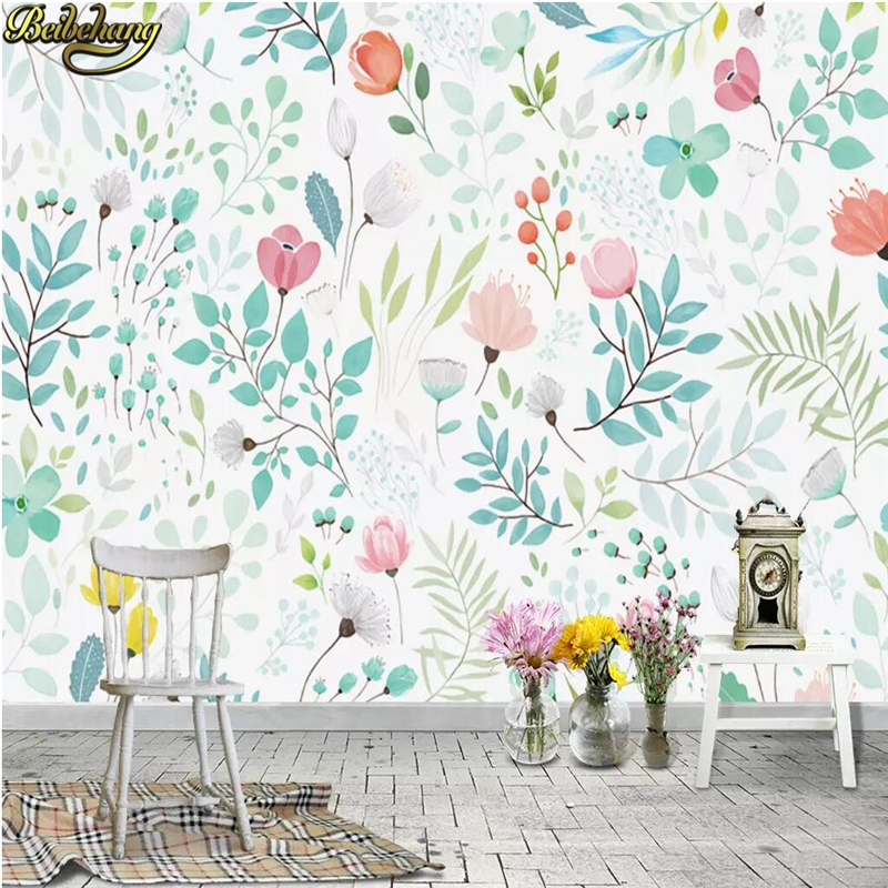 Beibehang Custom Photo 3D Wallpaper For Walls 3 D Nordic Hand-painted European Floral TV Background Bedroom Wall Paper Flooring