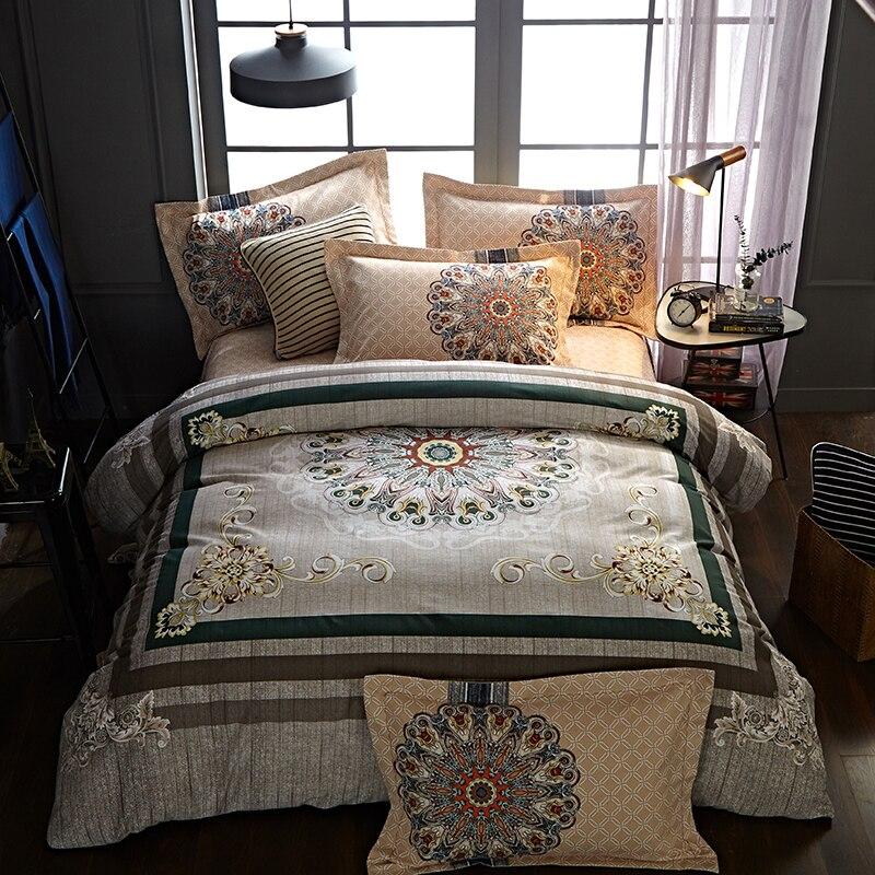 Bohemia style 100% cotton Bedding Sets Hot Sales Duvet Cover Set bedcloth pillowcase Queen King SizeBohemia style 100% cotton Bedding Sets Hot Sales Duvet Cover Set bedcloth pillowcase Queen King Size