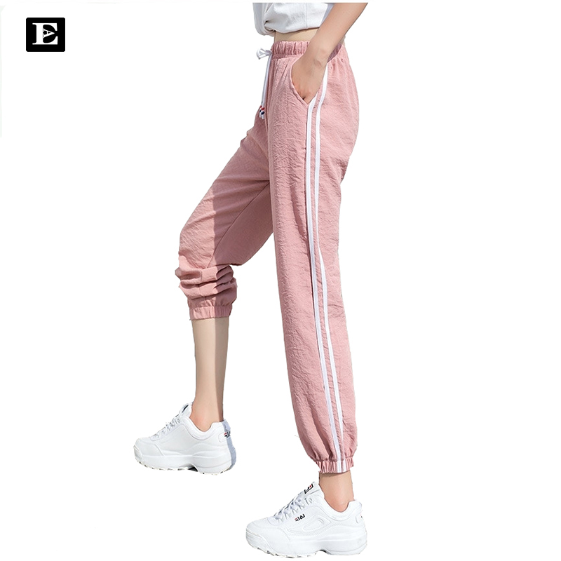 Doble rayado Jogger Haren pantalones largos ocio mujer Bottoms verano primavera ropa femenina pantalones de chándal ropa deportiva Pantalones