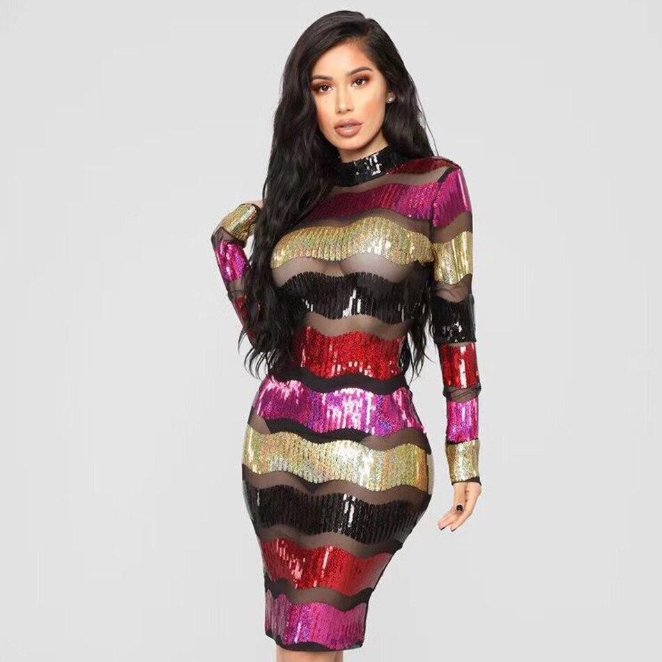 Couturière 2019 nouvelle Sexy maille robe pailletée femmes à manches longues rayé moulante Cocktail robes Club Eevning robes d'été