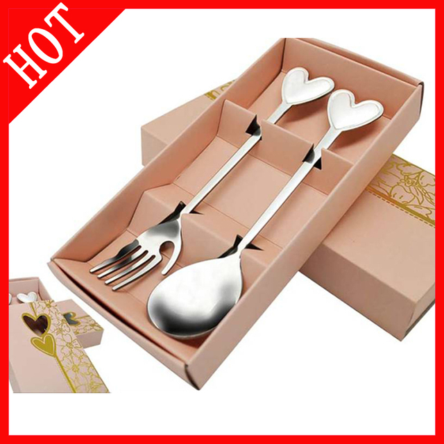 The stainless steel love couples to scoop powder yellow box suit/spoons fork cutlery