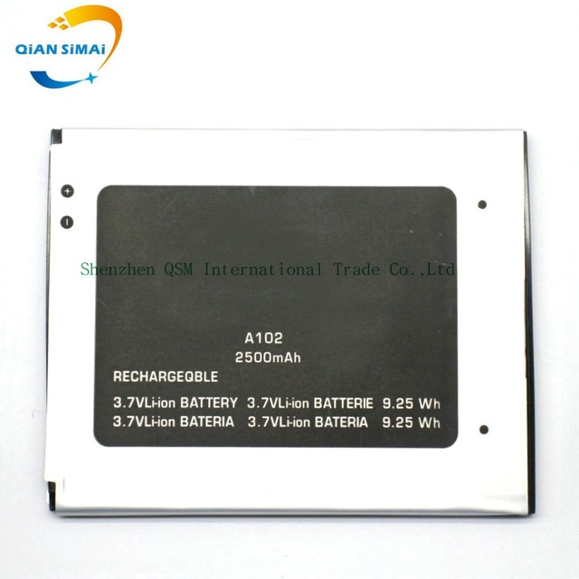 QiAN SiMAi New original High Quality 3.7V 2500mAh Micromax A102 Battery for Micromax A102 mobile phone in stock+ Free shipping