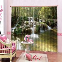 High precision Shade Luxury 3D Window Curtain living room Polyester Set with Hooks landscape curtains for bedroom