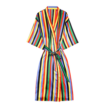 Daeyard Silk Long Robe For Women Striped Kimono Sexy Colorful Bathrobe Peignoir Bride Bridesmaid Dressing Gown Home Clothes