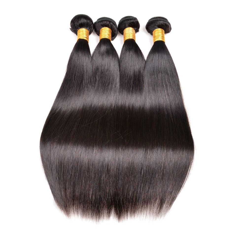 """Индийские прямые человеческие волосы плетение пучки 10 """"-28"""" драгоценный камень красоты не Реми 100% волосы для наращивания натуральный черный 1B двойное машинное переплетение"""