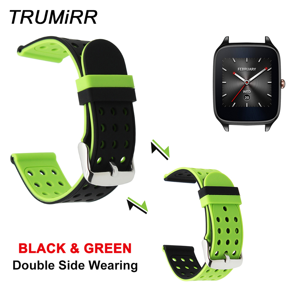 22mm Silicone Rubber Strap Double Side Wearing Band for Asus ZenWatch 1 2 Men Pebble Time Steel LG G Watch Urbane W150 Bracelet цена