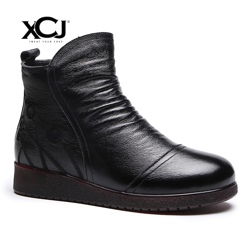 Women Genuine Leather Boots Women Winter Shoes Ankle Boots Brand Women Shoes Winter Shoes Platform Plush Pleated XCJ