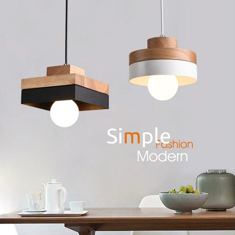 Modern E27 Simple Wood Pendant Hanging Lamp Kitchen Light