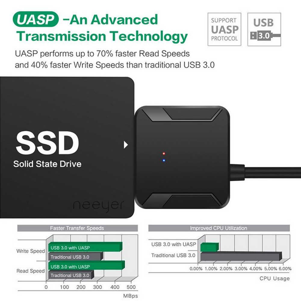 """Adaptador usb 3.0 para sata, cabo conversor 22pin sataiii para usb3, 0 adaptadores para 2.5 """"sata hdd ssd, entrega rápida de alta qualidade"""