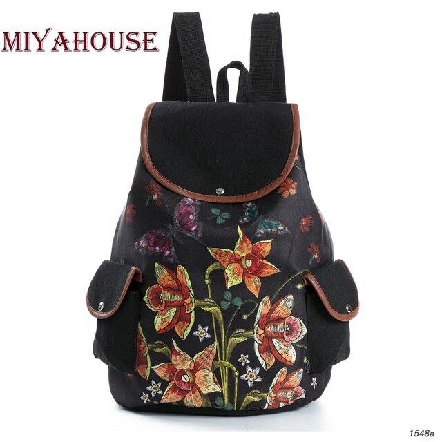 Vintage Floral Design Backpacks Female Drawstring Backpack For Teenager Girls  School Bags Cute Cartoon Print Canvas Rucksack 4f57938210c2f