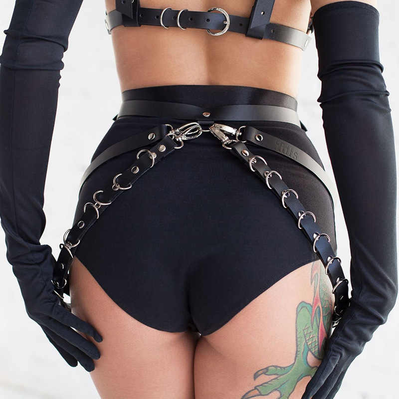 2019 New Bondage Sword Belt Fetish Witchy Garters Lingerie Suspenders Sexy Bdsm Set Garter Belt Harajuku Leather League Harness
