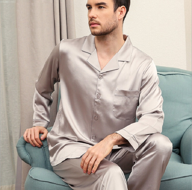 Silk Stain  Pajamas Set Men Red Long Sleeve Spring Summer 2019 Man Silk Homewear Two Piece Pants Sets Male Sleepwear Clothing