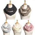Women Infinity Circle Cable Cowl Neck Faux Fur Collar Scarves Shawl Winter Warm
