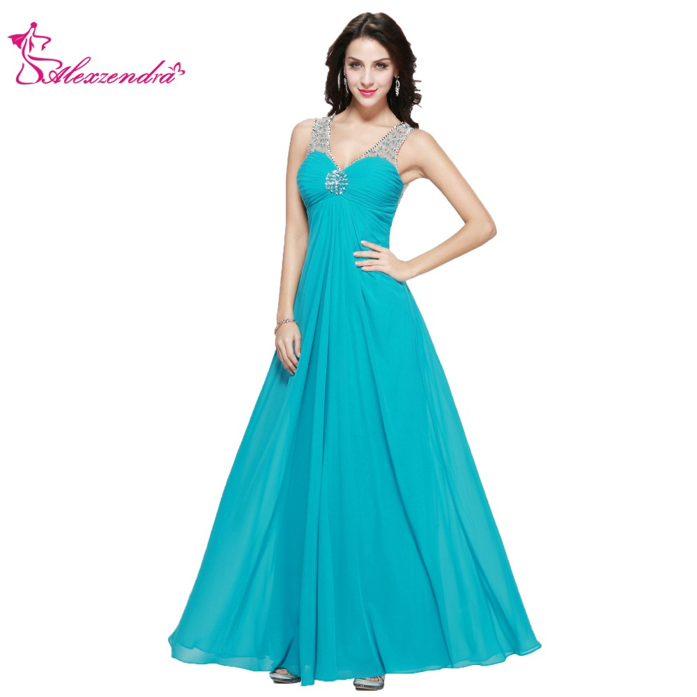 Alexzendra V Neck Chiffon Sky Blue Long Prom Dresses Spaghetti Straps Beaded Long Plus Size Party Dress for Girls