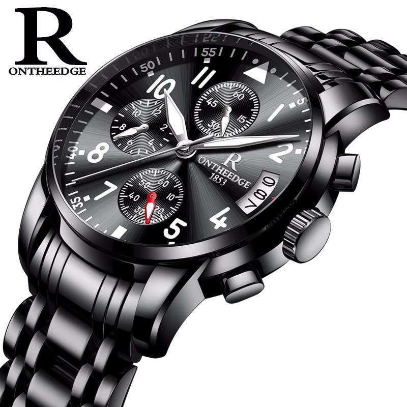 Zegarki Meskie Quartz Casual Calendar Luminous Full Steel Waterproof Wristwatch