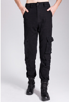 Военные печатные тренировочные брюки зимние мужские брюки-карго Теплые повседневные мешковатые штаны - Цвет: Черный
