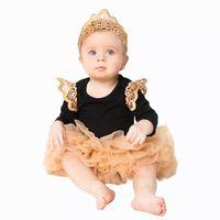 Newborn Clothing Suit Baby Clothes Infant Black Jumpsuit+Tutu Dress+Headband 3Pcs Baby Girls Clothing Toddler Romper suits