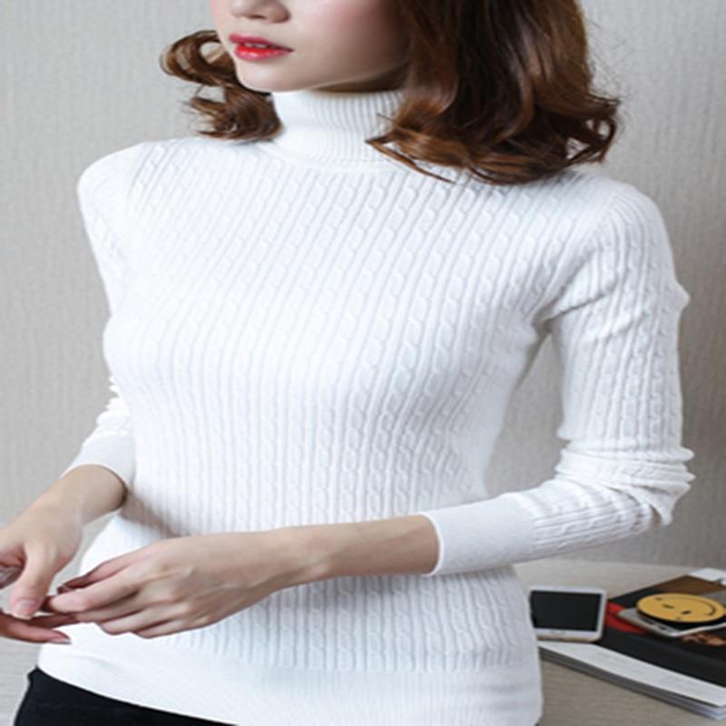 Style coréen nouveau col roulé tricoté pull femmes chandail plein solide coton chandail régulier paragraphe haut d'automne 220 - 6