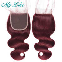 My Like 99j Red Burgundy Indian Body Wave Closure Nonremy Hair Extension Human Hair Top Lace Closure 4x4 Free Part Bleached Knot