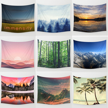 Hot sale brand Forest tapestry beauty landscapelake large sun set  Wall Hanging Printed home decoration