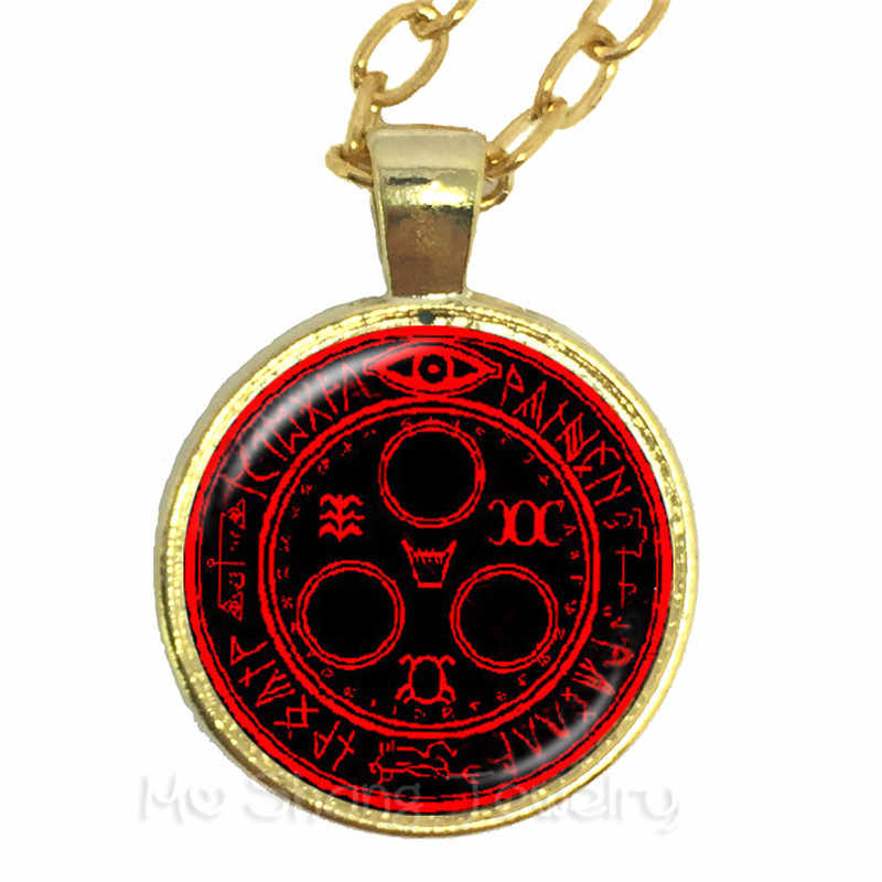 Teen Wolf Necklace Vintage Pentacle Wicca Glass Cabochon Locket Pendant Occult Charms Sweater chain Talisman Gift